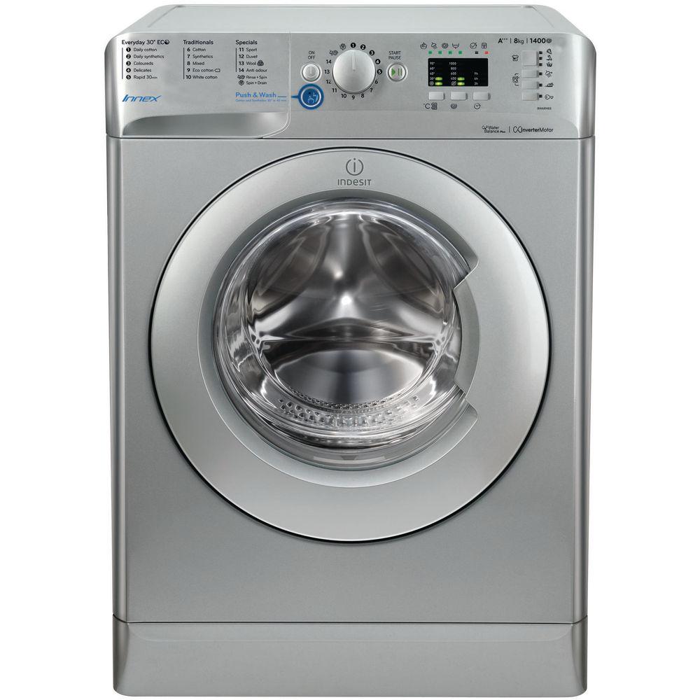 indesit silver 8kg washing machine