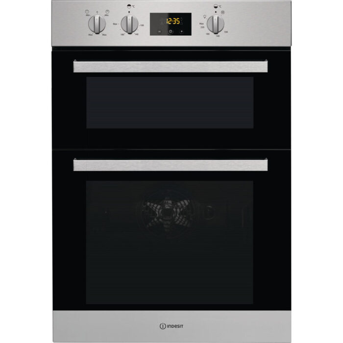 indesit double oven stainless steel