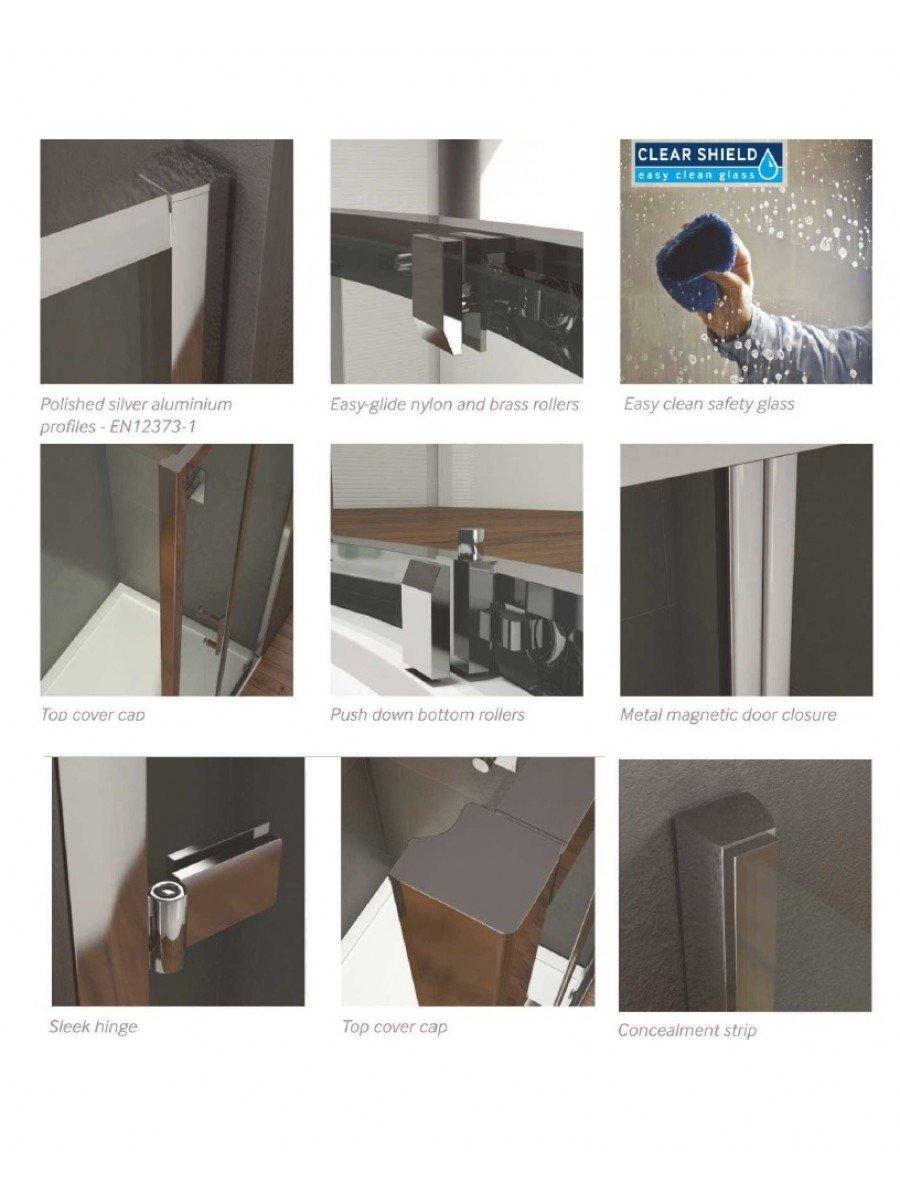 Kristal Style 1400mm Sliding Shower Door Adjustment 1350 1390mm