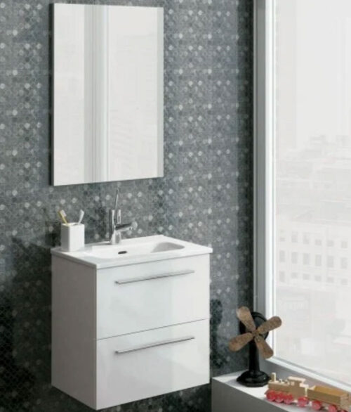 paris 50 white pack wall hung vanity unit with washbasin mirror